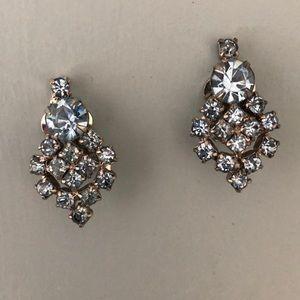 Vintage Light blue rhinestone clip on earrings